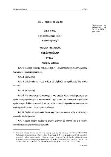 Ustawa z dnia 23 kwietnia 1964 r. - Kodeks cywilny.