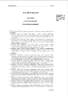Ustawa z dnia 27 kwietnia 2001 r. Prawo ochrony środowiska.